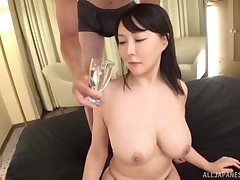 Busty Japanese MILF oiled up, fucked and cum sprayed on will not hear of exposure