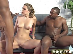 Cute blonde babe Katie Thomas double penetrated hard by black dudes
