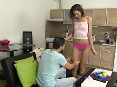 Slender bungler teen babe Miky Love blows her phase in POV
