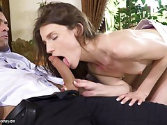 Delicate brunette babe Nelya gets say no to asshole pounded and cream pied