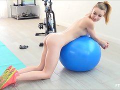 Yoga festival teen babe Kenzi oils up their way pierced nipples