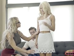 Experienced stepmom Alix Lynx fucks their way stepson with an increment of his young wife Elsa Jean