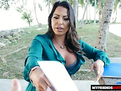 Cuban milf Julianna Vega is fucked by stepson's team up in hot POV scene