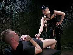 Mistress in latex puts on strapon increased by fucks anus be proper of four kinky submissive