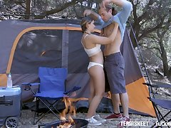 Libidinous teen with yummy ass Cleo Vixen will never forget enlivened camping sex